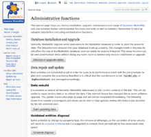 "Screenshot showing the top section of special page ""SemanticMediaWiki"". (en)"