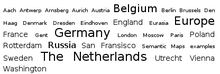 A simple tag cloud displaying several geographical locations (en)