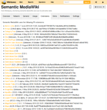 "Screenshot showing the tab displaying extension information collected on ""WikiApiary"". (en)"