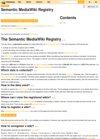 "Screenshot showing the website registry page on ""WikiApiary""."